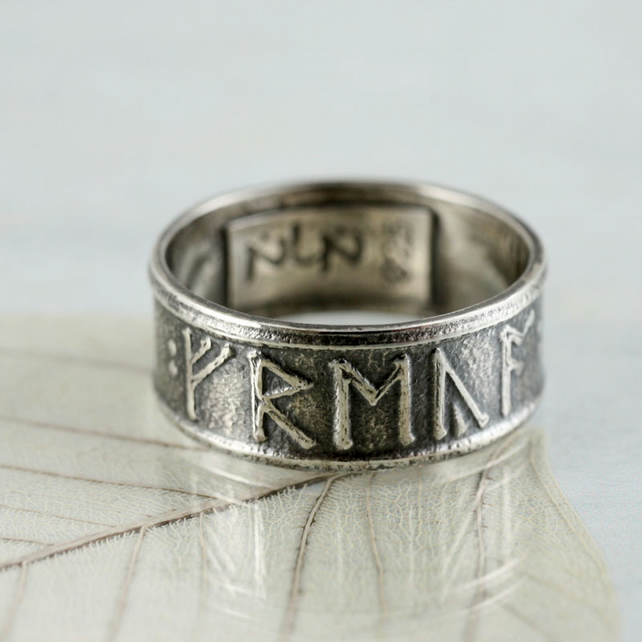 Custom Rune Ring in Sterling Silver - Anglo Saxon Viking Runes