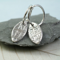 Rune Leaf Drop Earrings on Hoops. Sterling Silver