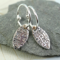 Elven Leaf Drop Earrings on Hoops. Sterling Silver