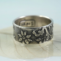 Wide Sterling Band Ring - Victorian Engraved Flower Pattern - Your Size