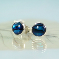 Sterling Silver Earring Posts with Blue Abalone Cabochons 6mm