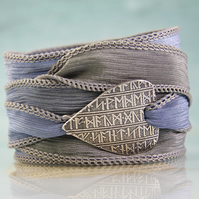 Viking Rune Bracelet on Soft Silk Ribbon - Silk Wrist Wrap - Fine Silver