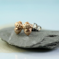 Bronze Acorn Earrings - Golden Bronze Studs