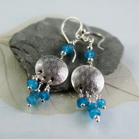 Peacock Blue Apatite Earrings - Sterling SIlver Dangles