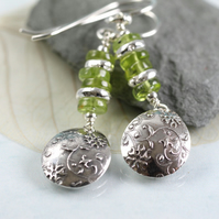 Silver Earring Drops with Peridot Gemstones and Recycled Sterling Disc Beads