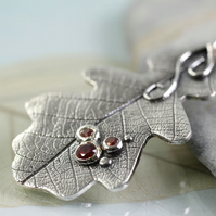 Sterling Oak Leaf Pendant with 3 Red Gems - Woodland Jewellery