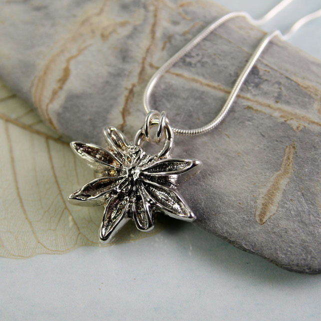 Pendant Star Anise in Solid Silver - Organic Casting of Recycled Sterling Silver