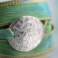 Silver Beach Bracelet  - Silk Ribbon Wrap - Sand Dollar Charm