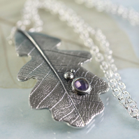 Silver Leaf Jewelry - Oak Pendant with Purple Stone in Sterling Silver