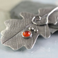 Silver Oak Leaf Pendant With Orange Autumn Stone - Botanical Jewellery