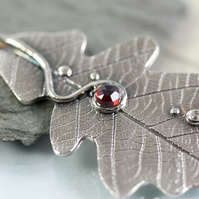 Garnet Necklace with Oak Leaf Pendant in Sterling Silver