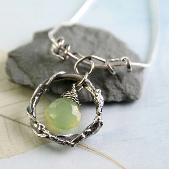 Silver Wreath Pendant with Juicy Green Chalcedony Gem