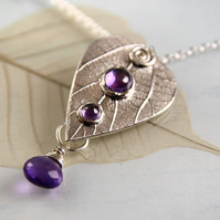 Silver Leaf Necklace with 3 Purple Gems - Amethyst and Cubic Zirconias