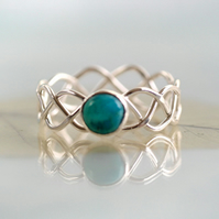 Braided Silver Ring Set With Turquoise Celtic Jewellery