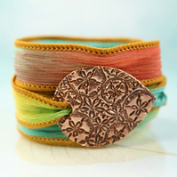 Sand-dollar bracelet Silk Wrap and Handmade Copper Focal - Ribbon Bracelet