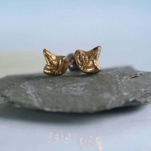 Golden Bronze Ivy Leaves Post Earrings