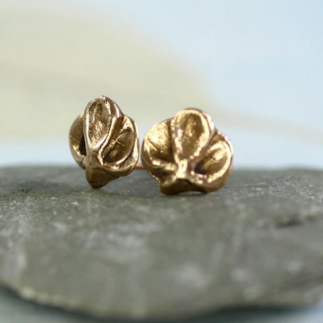 Orchid Stud Earrings - Golden Bronze Flowers