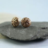 Bronze Stud Earrings  - Tiny Golden Sea Urchins