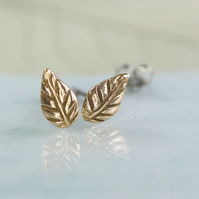 Golden Bronze Leaves Post Earrings