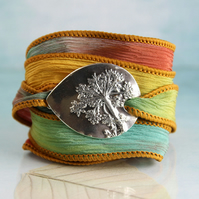 Dandelion Bracelet on Soft Silk Ribbon - Silk Wrist Wrap - Eco Sterling Silver