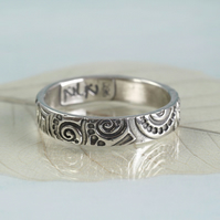 4mm Sterling Band Ring - Art Nouveau Swirl Pattern