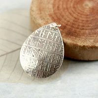 Silver Drop Pendant with a Viking Rune Pattern - Fine silver Elegant Necklace