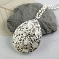 Silver Drop Pendant with a Folklore Pattern - Fine Silver Necklace