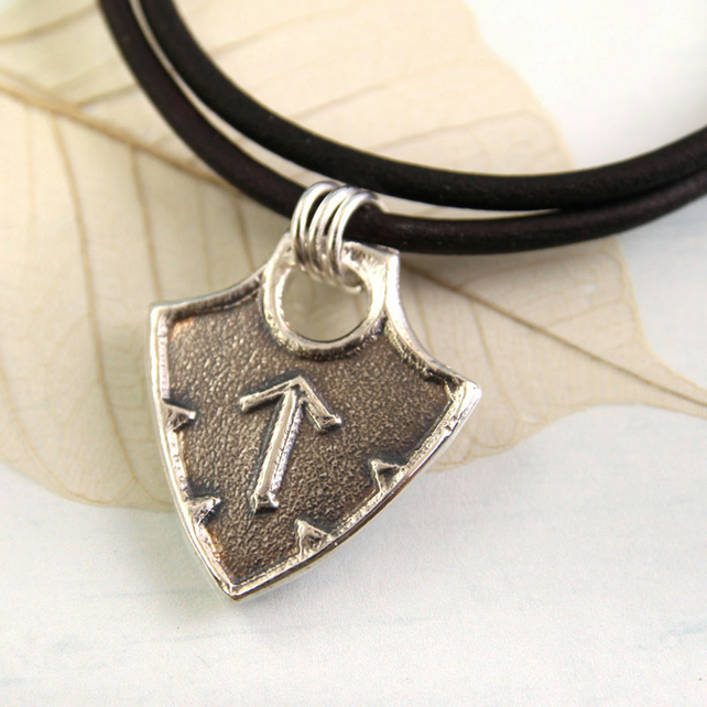 Custom Rune Pendant - Shield Shape Viking Style - Sterling Silver Charm