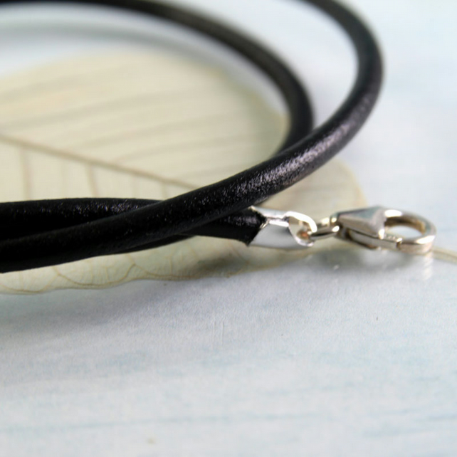 Leather Necklace with Sterling Silver Clasp - 3 mm Black - Choose Length