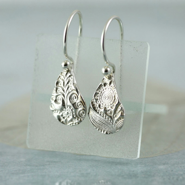 Fine Silver Drop Earrings - Tiny Flower Dangles with Zentangle Floral Texture