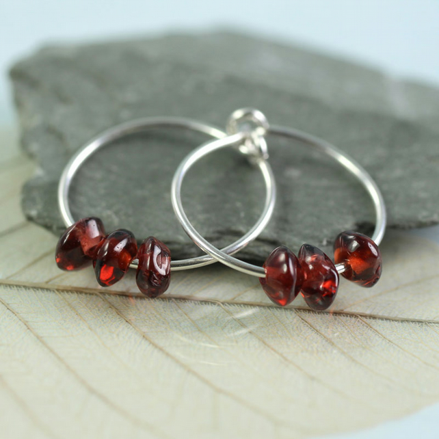 Gemstone Sterling Hoops - Silver Sleeper Earrings with Garnet Beads