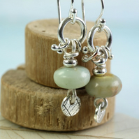 Jasper Dangle Earrings, Sea Green Aqua Terra Jasper Beads Organic Silver Discs