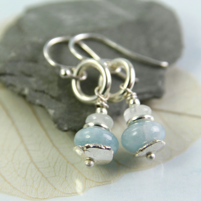 Aquamarine and Silver Dangle Earrings - Gems in Pale Blue with Recycled Sterling