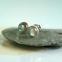 Sterling Silver Studs with Labradorite Stones - Gemstone Earrings