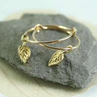 Gold Hoops with Tiny Leaf Dangles - 14 ct Gold Fill Hoops