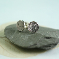 Round Studs with Leaf Texture 8mm - Sterling Silver Woodland Jewellery