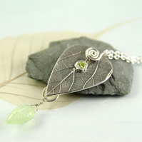 Peridot Silver Leaf Necklace with Prehnite drop. Nature Jewellery. August Gift