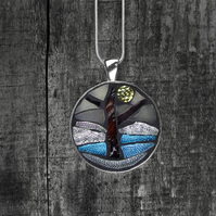 'Lone Tree' Stained Glass Mosaic Pendant