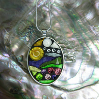 'Dartmoor Sunrise' - Large Stained Glass Mosaic Pendant