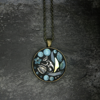 'Squirrel Blue' - Glass Mosaic Pendant- Glow In The Dark