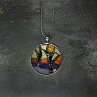 'Tree Sunset' - Stained Glass Mosaic Pendant