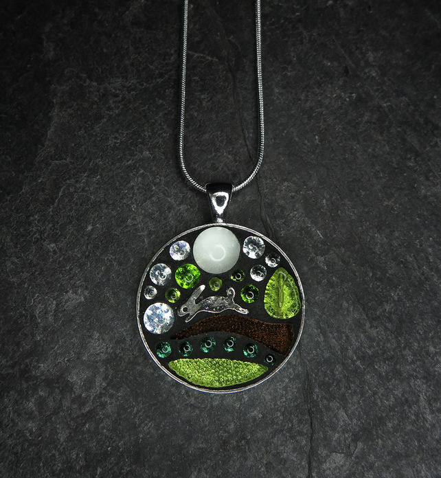 Country Hare - Mosaic Pendant - Glow In The Dark!