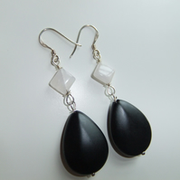 Sterling Silver Onyx and Rose Quartz Drop Earrings
