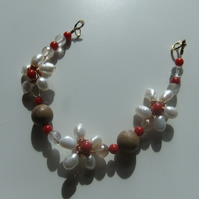 'Amelia', Pearl, Coral and Jasper Bracelet with Gold Plate Sterling Silver Clasp