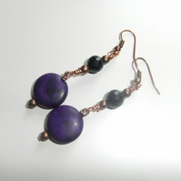 Purple Magnesite and Black Quartzite Jade Copper Earrings