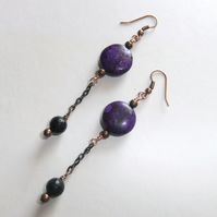Purple Magnesite and Black Jade chain Earrings
