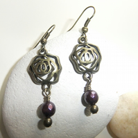 Rose Earrings with Purple faceted Shell Pearl