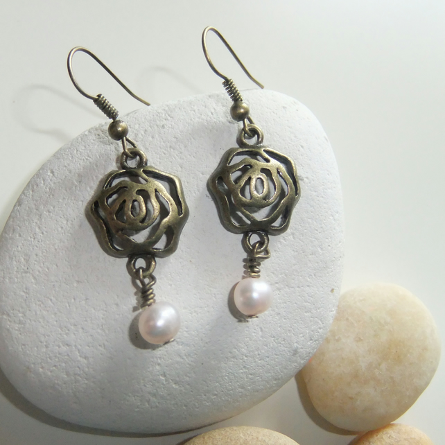 Pale Pink Freshwater Pearl Rose Earrings
