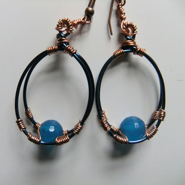 Turquoise Blue Agate and Copper wire wrapped Earrings