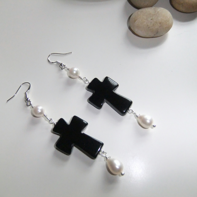 Onyx Cross and Pearl Sterling Silver Earrings